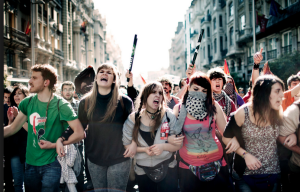 Lost generation crowd. Unemployed youths rally in the streets of Madrid during the General strike on March 29.  Photo by Christian Als